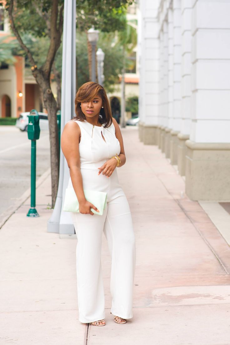 Sadie Zip Neck Jumpsuit    $48.90 | Look ultra-chic in top-to-toe white with the Sadie plus size jumpsuit, an elegant take on the one-piece silhouette. This pristine design features gold-tone zippers and a keyhole cutout at the neckline for an edgy spin. Round neck, sleeveless, wide leg.