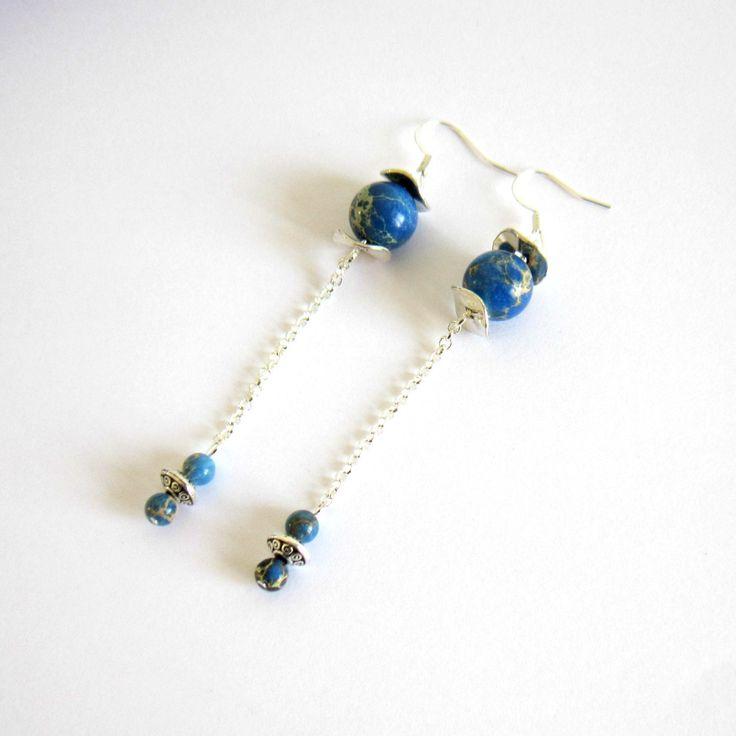 Boucles d'oreilles pendantes argentées et bleues, pierre de gemme Chrysocolle, boucles d'oreilles fines : Boucles d'oreille par color-life-bijoux