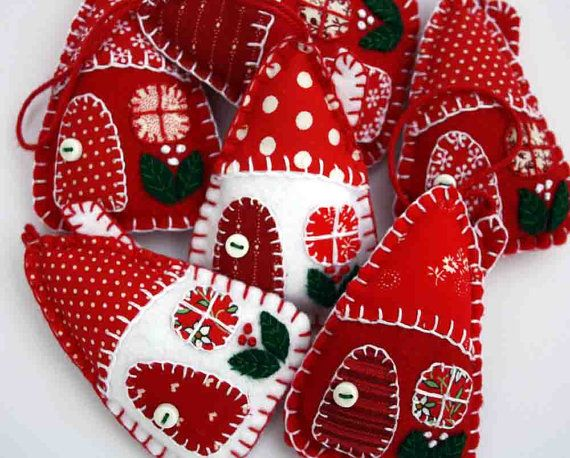 Handmade felt house Christmas ornaments, Red and white Scandinavian Holiday ornaments