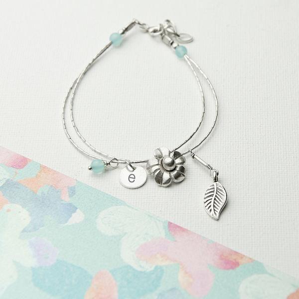 Sterling Silver Personalised 'Forget Me Not' Bracelet - Blue Topaz