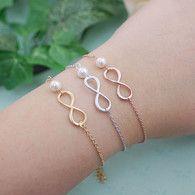 Infinity Charm with Swarovski Pearl Bracelet