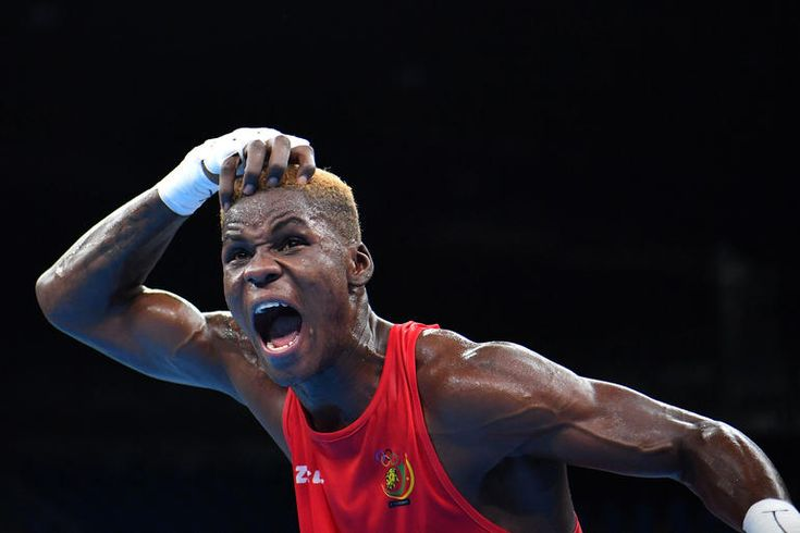 Cameroon's Dieudonne Wilfred Seyi Ntsengue reacts to winning against Colombia's Jorge Luis Vivas during the Men's Middle (75kg) match at the Rio 2016 Olympic Games at the Riocentro - Pavilion 6 in Rio de Janeiro on Aug. 9, 2016.Photo by Yuri Cortez/AFP/Getty