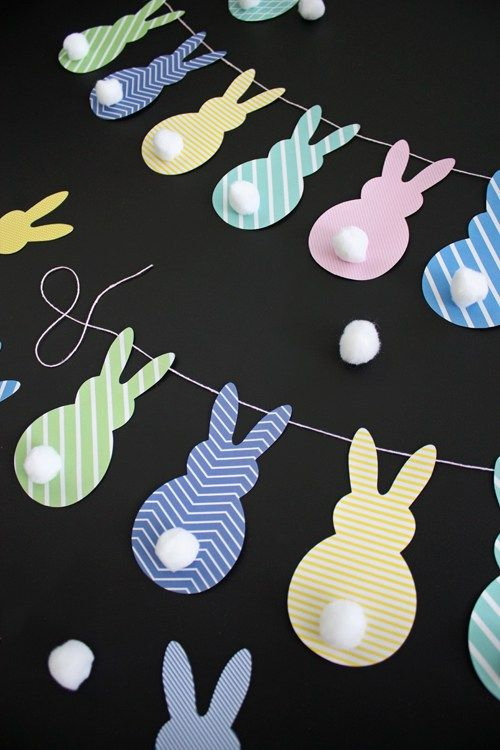 DIY Easter Bunny Banner | like-the-cheese.com with Template