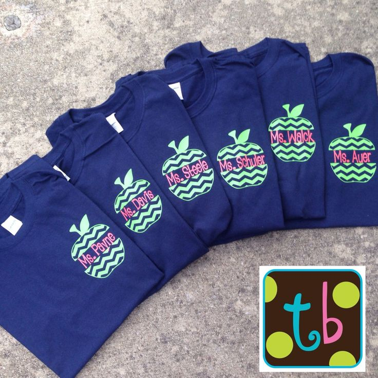 Personalized Chevron Monogrammed Apple Back to School Teacher Shirt Tee by Tootlebugs on Etsy
