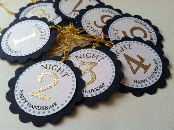 8 Gold and Blue Hanukkah Gift Tags. Eight Nights of Hanukkah. Holiday Tags.