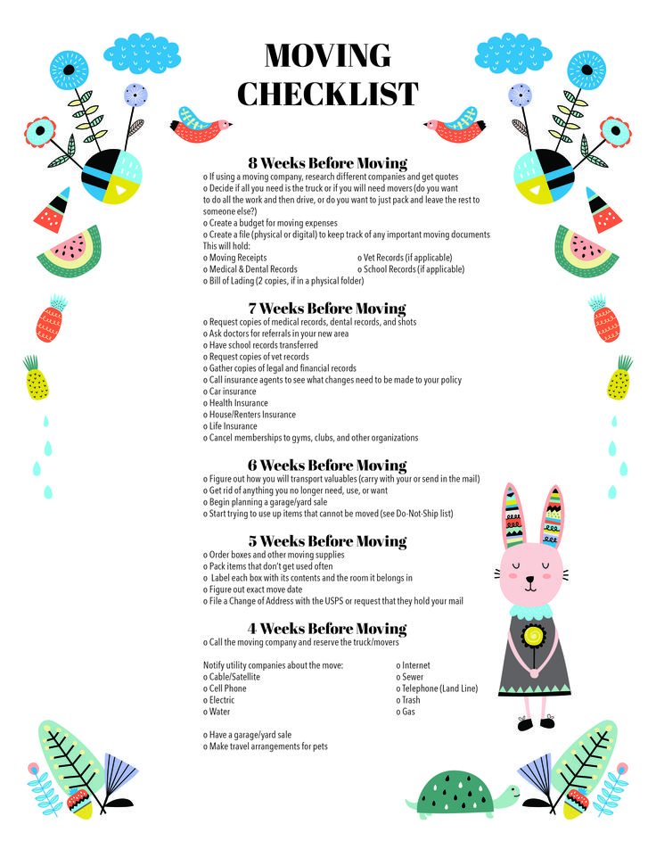 Free Moving Checklist Printable  YouVe Only Got  Weeks Until