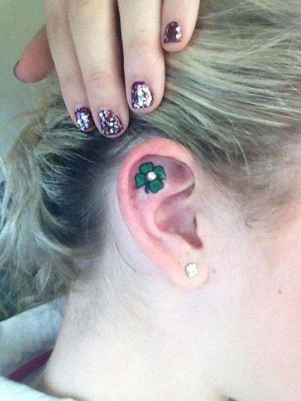 Four Leaf Clover Ear Tattoo - Cute Four Leaf Clover Tattoos, http://hative.com/cute-four-leaf-clover-tattoos/,