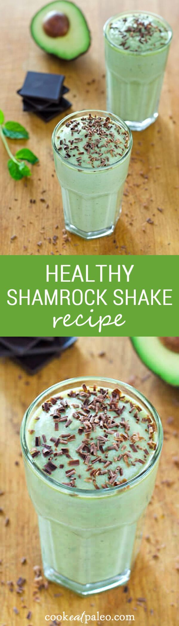 My healthy shamrock shake recipe is dairy-free, refined sugar-free, and additive-free. It's made with coconut milk, avocado, and fresh mint. ~ http://cookeatpaleo.com