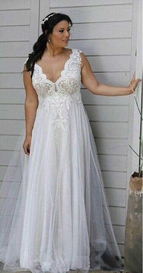 0a91596bd34c Stunning 40+ Plus Size Wedding Dresses V Neck Ideas