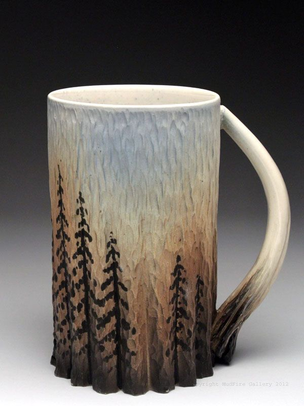 dow redcorn mug at mudfire gallery love the tree design wheel thrown stoneware mug hand carved painted with slips underglazes and food safe glaze - Pottery Design Ideas