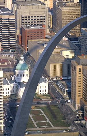 Aerial photo of Gateway Arch, Saint Louis, Missouri.  Go to www.YourTravelVideos.com or just click on photo for home videos and much more on sites like this.