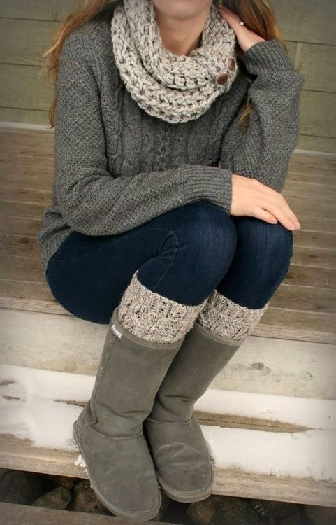 Casual Fall Outfit With Wire Knit Cozy Sweater and Button Sweater