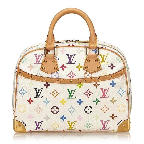 """Pre-owned """"""""Trouville Monogram Multicolore Canvas"""""""" ($1,090) ❤ liked on Polyvore featuring bags, white, monogram canvas bag, studded bag, white canvas bag, multicolor bag and louis vuitton bags"""