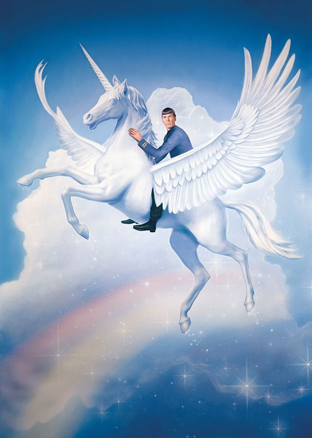 Spock Riding a Majestic Unicorn Over a Rainbow