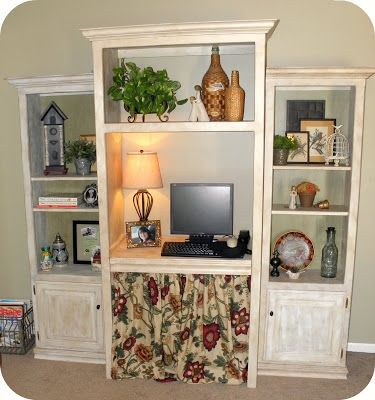 A computer desk nook from an old entertainment center for How to reuse an entertainment center