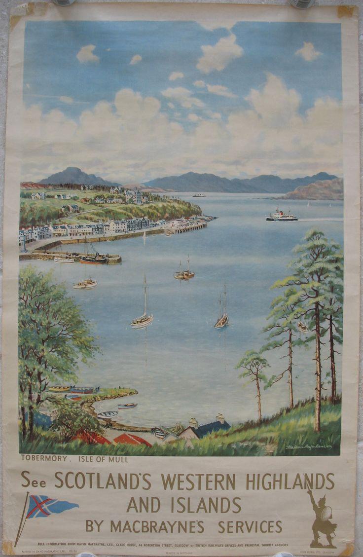 Original Macbraynes Poster Tobermory Isle of Mull, by Alasdair Macfarlane. Available on originalrailwayposters.co.uk
