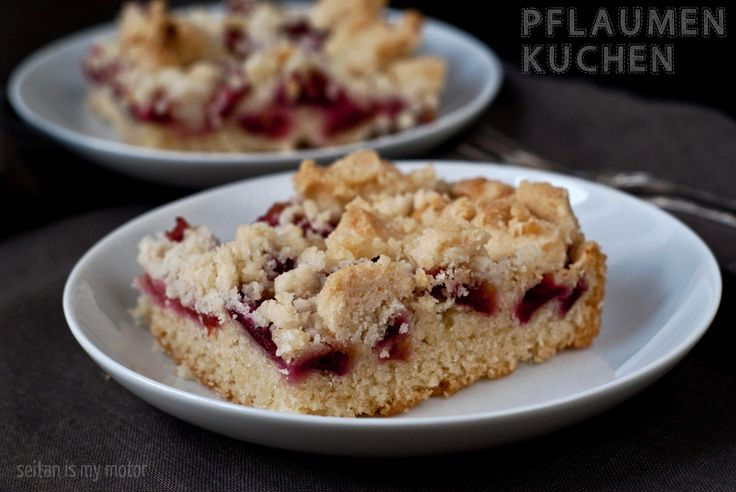 """Pflaumenkuchen/ Plum cake (no yeast). CT's notes: Made Sept 2014.  Used smaller pan (8"""" x 8""""?), would double recipe if you want to do anything larger. The crumble topping was strange; omit altogether or add a smaller amount of coconut oil and increase if needed."""