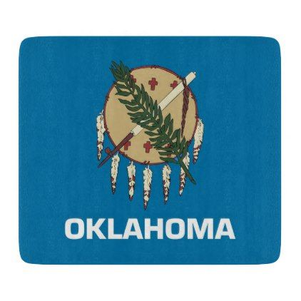 Small glass cutting board with Oklahoma flag - kitchen gifts diy ideas decor special unique individual customized