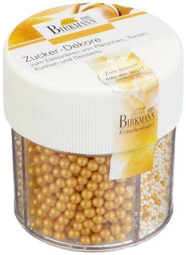 RBV Birkmann 504035 Champagne Décor en Sucre Or/Nacré 6,2 x 6,2 x 7,4 cm: 3 compartiments Pour décorer gâteaux, tartes, biscuits et…
