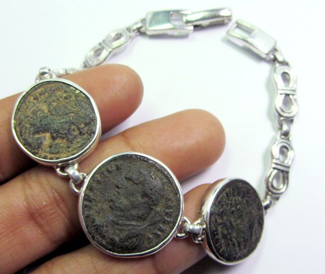 THREE  ANCIENT ROMAN COINS IN SILVER BRACELET  CO 1654 coin jewelry , coin pendant ,ancient coin bracelett