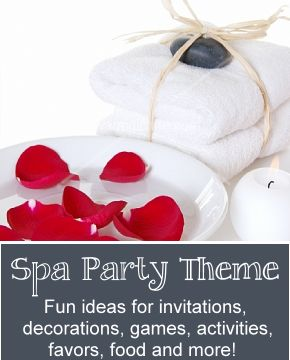 Spa Birthday Theme - Great spa themed birthday party ideas for kids, tweens and teens.   FREE homemade spa recipes too!  Fun theme ideas for decorations, games, activities, food, favors and more!  http://www.birthdaypartyideas4kids.com/spa-birthday-theme.htm