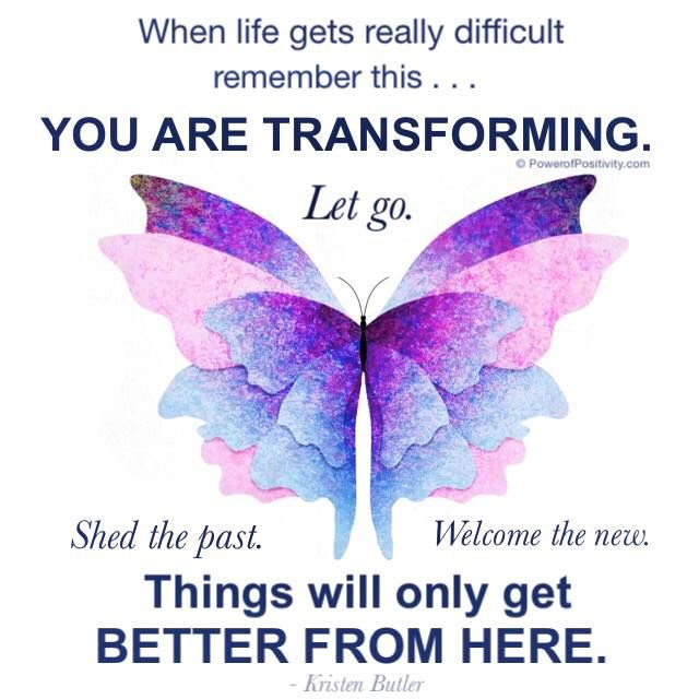 *When life gets really difficult, remember this....you are transforming. Let go. Shed the past, welcome the new. Things will only get better from here