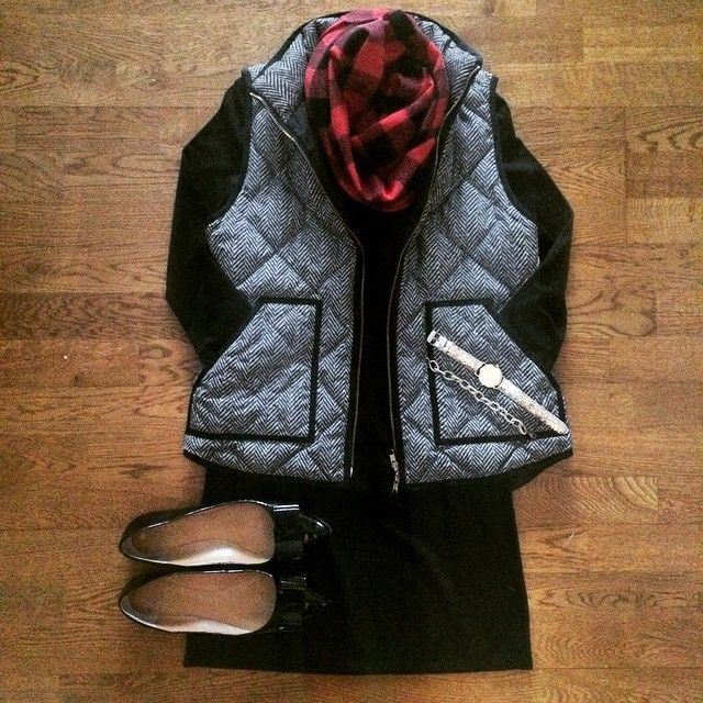 Black Dress, Buffalo Plaid Scarf, Herringbone Vest (I want a herringbone vest so badly!)