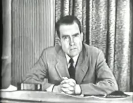 1952: Vice-Presidential candidate Sen. Richard Nixon delivers the Checkers speech, a September 23 address in which he denies having accepted campaign gifts (except for a dog named Checkers). The address is an unprecedented demonstration of the power of television to galvanize large segments of the American people to act in a political campaign.
