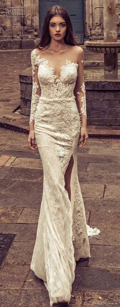 julia kontogruni 2018 bridal long sleeves deep sweetheart neckline full embellishment high slit skirt elegant fit and flare wedding dress sheer button back chapel train (3) mv -- Julia Kontogruni 2018 Wedding Dresses
