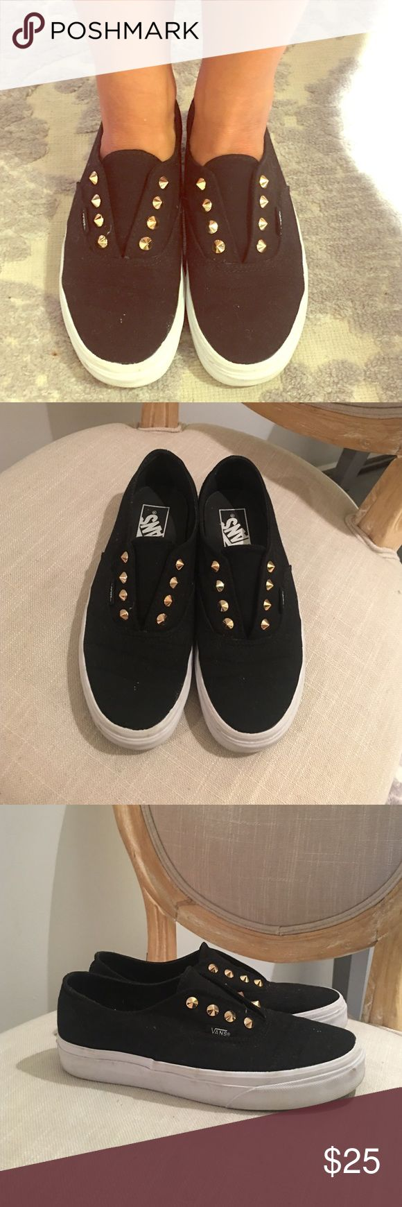 Vans 'Gore' Stude Black Slip-On Shoes Purchased @ Zumiez in Spring 2016.  Look adorable on. ***************From ZUMIEZ.com product description: Add some luxe flavor to any outfit with these classic style slip-on shoes that are made with a chic black materials finished with gold studded detail. Vans Shoes Sneakers