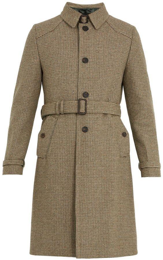 Prada Single-breasted micro-checked wool overcoat