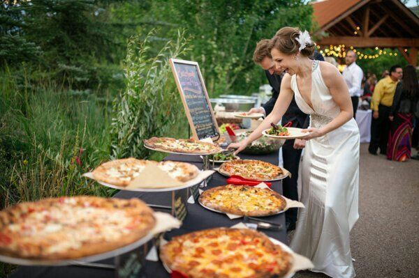 Pizza bar at the wedding! This is amazing!! With salad too. It'd be really cheap (buffet style?) and also amazingly delicious