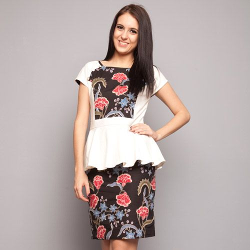 Black White Peplum Dress