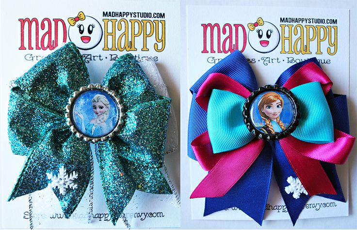 Two 4 inch double bows of Elsa and Anna with 2 prong hair clip attached.$11 for the set! Mad Happy Bows www.madhappy.storenvy.com