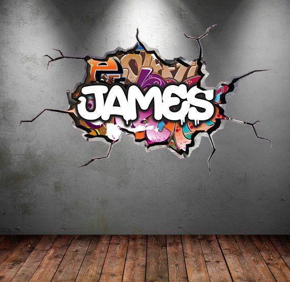 Personnalisé Graffiti prénom sticker fissuré mur 3D vinyle mur autocollant sticker urbain garçons filles murale chambre mur Stickers WSD116