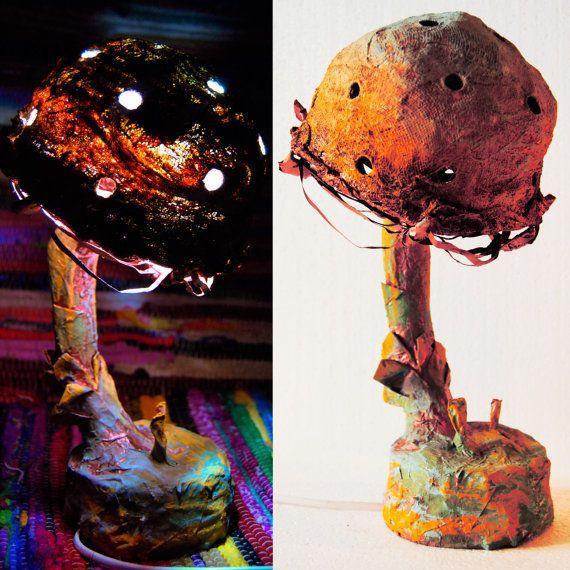 This mushroom lamp is sooo awesome! I wonder if it`s only paper mache? https://www.etsy.com/listing/483099827/mushroom-night-lamp-handmade-light