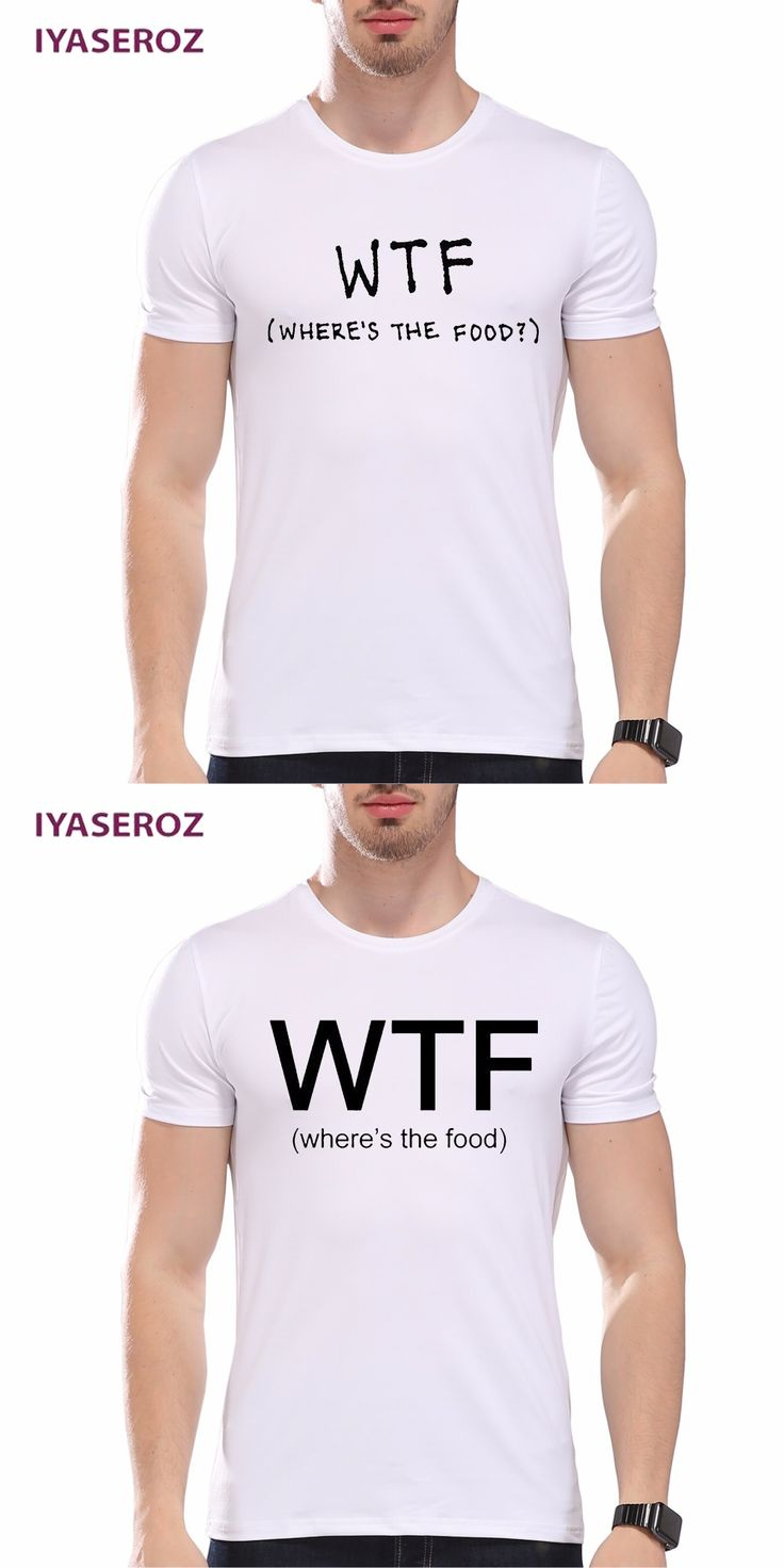 IYASEROZ 2017 Funny WTF Where's The Food Letters Printed Men's Summer T-shirt Male Hipster White Customize Halajuku Tops Tees