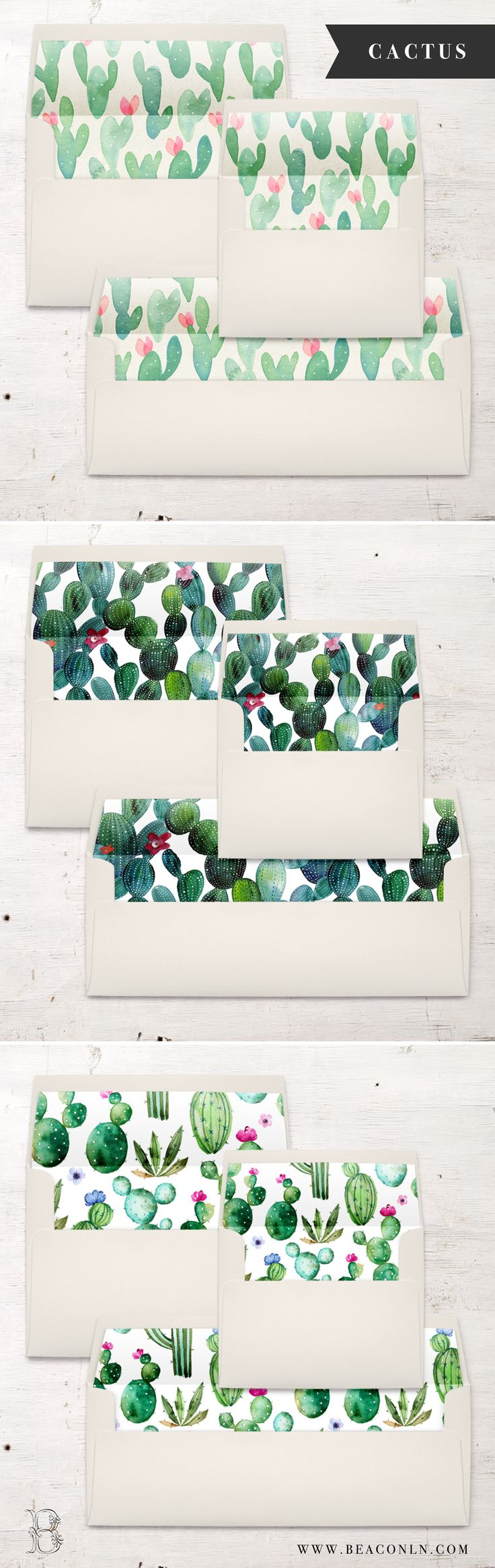 Get ready for some cactus envelope liner pretty! Each A7, A2 or #10 envelope liner is digitally printed on the paper of your choice and then hand cut and assembled inside each envelope. No messy glue strips or at home assembly needed – all the work will be done for you!