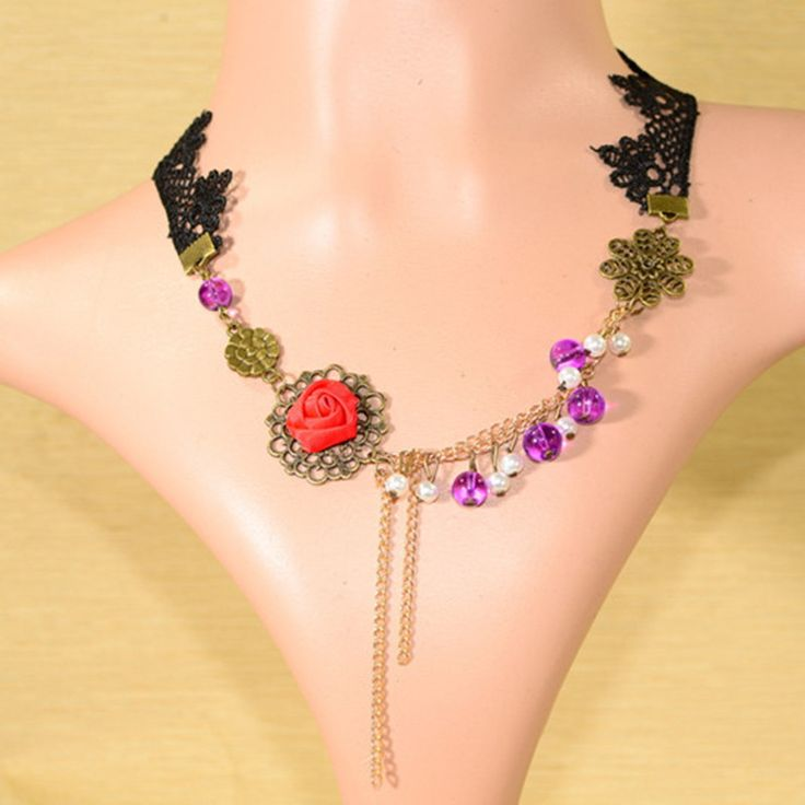 Stunning #Red Rose #Lace Fashion #Necklace @Just Rs.599.00. Use code - OFF100 and get Rs.100 Discount on every purchase. We offer free shipping and Cash on Delivery (COD) all over the India.