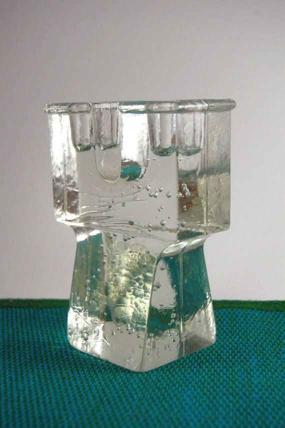 Dansk Glass Candleholder Modern Bubble Glass di TheVintageSouth