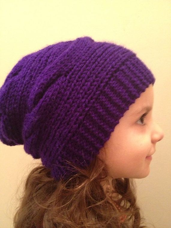 Slouchy Knit Cable Hat/children cable hat/girls knit by Knitkozi, $25.00  For more selection: https://www.etsy.com/ca/shop/Knitkozi?ref=si_shop