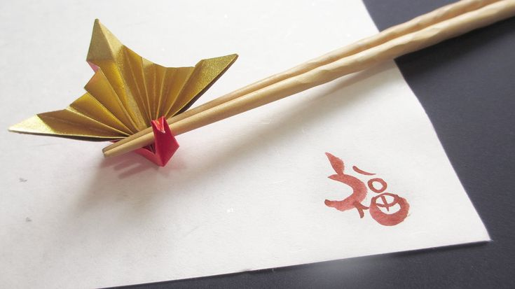 [How to ORIGAMI] Celebration crane / 折り紙箸置き~正月祝い鶴~