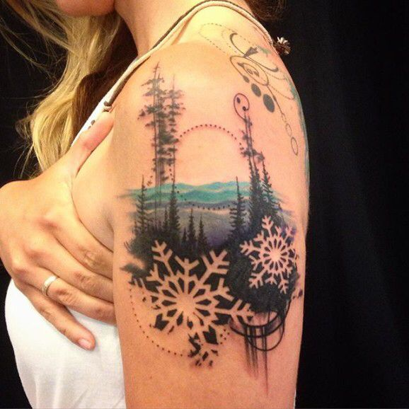 Winter landscape tattoo watercolor ink