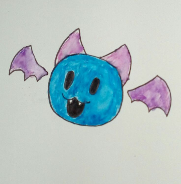 Here's a Lil bat for u guys! I was practicing using watercolor pens since I'm terrible at using them XD