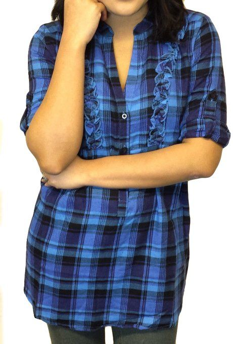 Ladies Frill Checked Shirt Blue Purple or Grey Sale: £12.99 http://www.amazon.co.uk/gp/product/B00L4FT39E/ref=as_li_qf_br_asin_il_tl?ie=UTF8&camp=1634&creative=6738&creativeASIN=B00L4FT39E&linkCode=as2&tag=pinterestc02c-21
