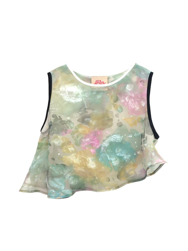 Hand Painted Transparent Organza Silk Colorfull Top Tailoring Lola Darling ARTWORK DRESS by A. LUGLI, Blouse, One of a Kind, Made in Italy di loladarlingirl su Etsy
