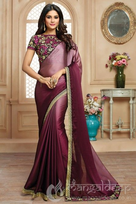 c27c1c3071307b Double Shaded Wine Colour  satin Saree