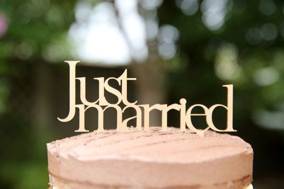 Wedding Cake Topper: Just Married  Wooden wedding Cake Topper made from birchwood timber - the perfect piece to decorate your cake on your wedding day or civil union. Our beautiful wedding cake toppers are uniquely designed and precision laser cut from a 3mm thick Birchwood plywood,