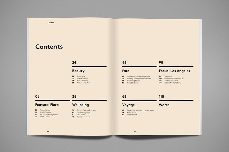 Cover Page Table Of Contents | Print Layout Design