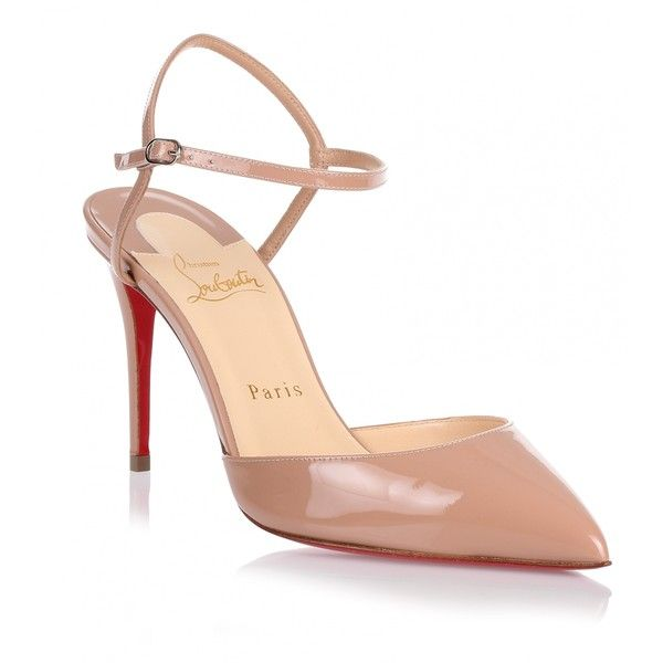 Christian Louboutin Rivierina patent nude pump ($745) ❤ liked on Polyvore featuring shoes, pumps, beige, nude patent pumps, high heel pumps, beige pointed toe pumps, high heel shoes and christian louboutin pumps